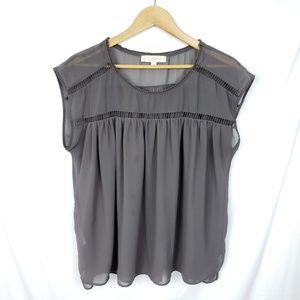 LOFT Boxy Short Sleeve Gray Semi Sheer Top Sz L